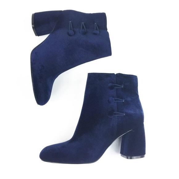 Nine West Shoes - Nine West Navy Velvet Booties 8.5 KHRAINE